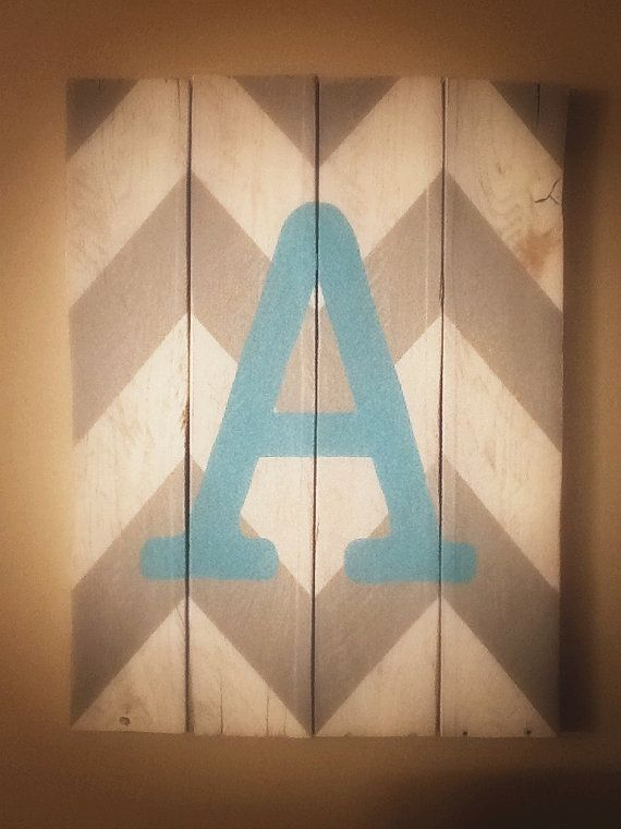 Chevron letter initial nursery/ child's room sign decor by nlhlove
