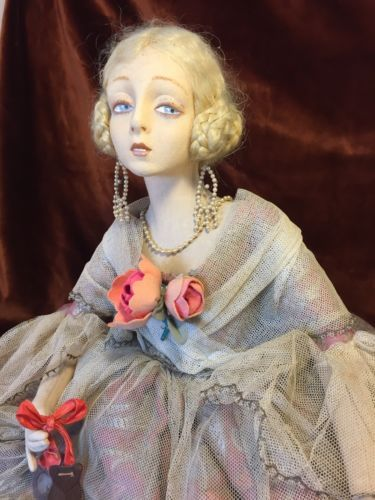 EXTREMELY-RARE-LENCI-BOUDOIR-DOLL-27-Human-Hair-Jewelry-Silk-Beautiful-Signed