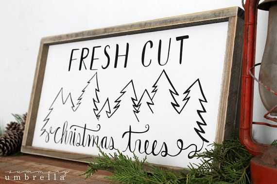 Fresh Cut Christmas Trees Wood Sign Wall by thesummeryumbrella
