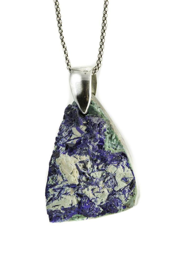 925 Sterling Silver Necklace - Handmade Azurite Druzy Rough Cut Gemstone Necklace