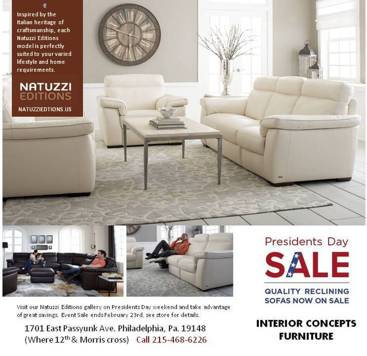 Presidents Day Furniture Sale! All Natuzzi Editions Leather sofas & sectionals on Sale! Great deals on motion leather furniture. Stop in today, Call 215-468-6226