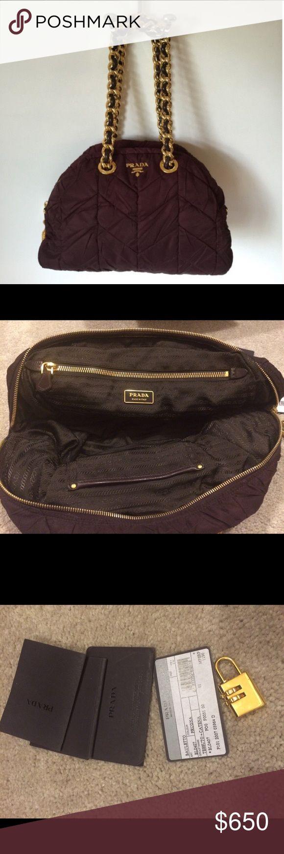 Prada Catena Chevron Tessuto Large Plum Satchel Plum colored satchel. Used once. No damage. Willing to negotiate. Prada Bags