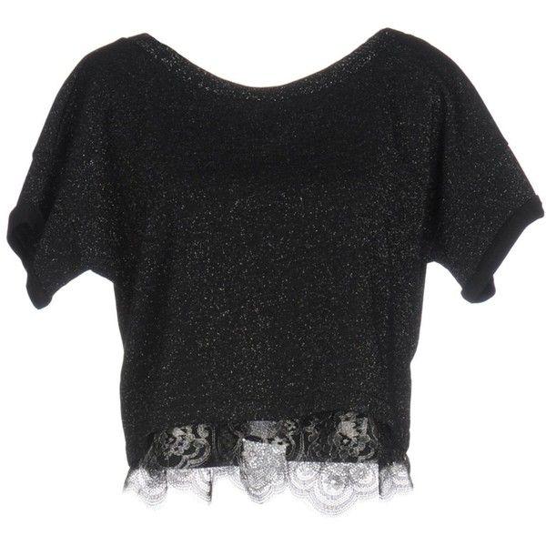 Liu •jo Sweatshirt featuring polyvore women's fashion clothing tops hoodies sweatshirts black logo sweatshirts lacy tops logo top lace sweatshirts short sleeve tops