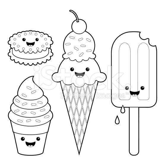 Ice cream fun kawaii coloring set royalty-free stock vector art