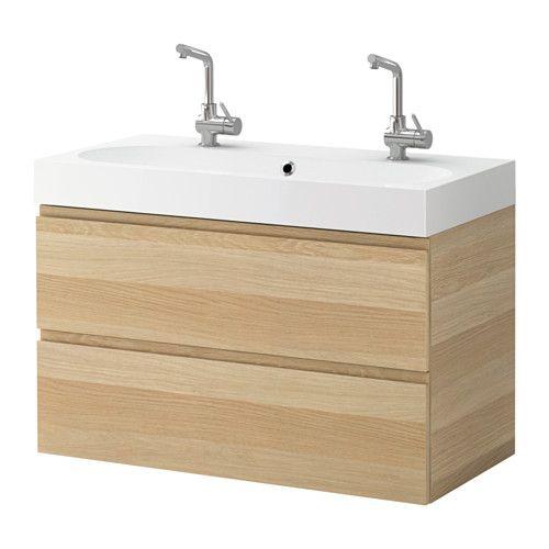 GODMORGON / BRÅVIKEN Waschbeckenschrank/2 Schubl. - Eicheneffekt weiß lasiert - IKEA