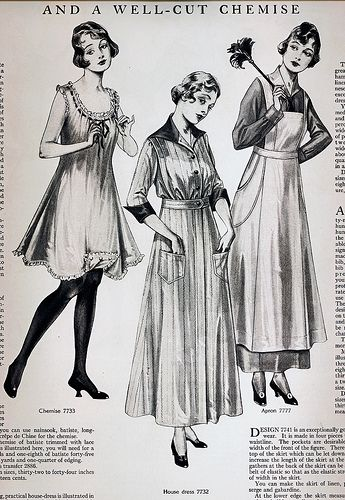Left, Anne's underwear prop, should be shorter. Center, Mom. Right, Mrs. Fitzgerald! Especially the Apron! Around the Home Women's Fashion 1915 | von pixelnaiad
