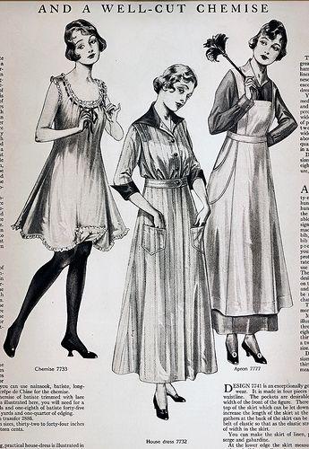 Left, Anne's underwear prop, should be shorter. Center, Mom. Right, Mrs. Fitzgerald! Especially the Apron! Around the Home Women's Fashion 1915 | von pixelnaiad