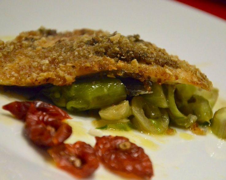 Filetto di Orata in Crosta, Olive Taggiasche, Capperi su letto di Puntarelle e Pomodori Secchi
