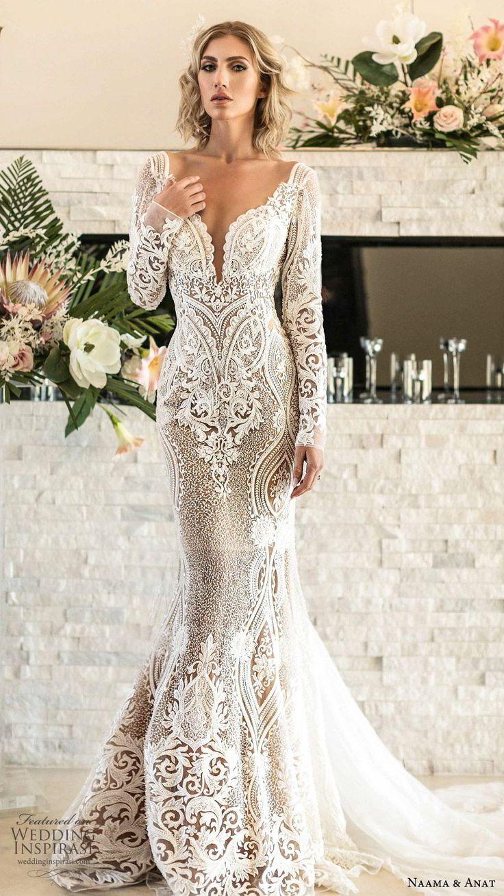 naama anat spring 2020 bridal long sleeves split sweetheart neckline lace sheath…
