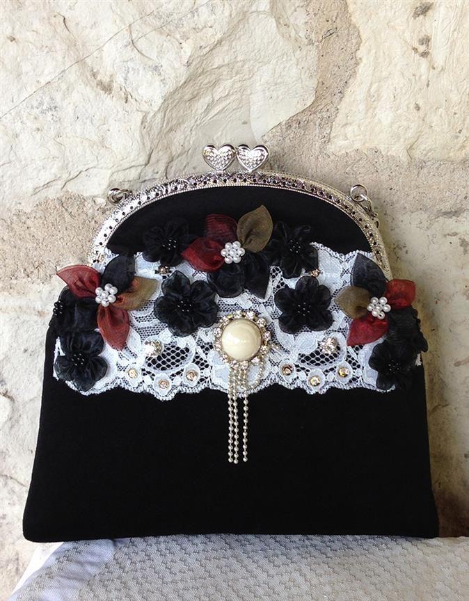 Ebroos Handmade Bags - Ebroos Handmade Bags  El yapımı siyah kadife vintage stil çanta