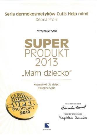 Super Produkt 2013 - Ocenenie značky CutisHelp rady Mimi detskej zdravotnej konopnej kozmetiky.