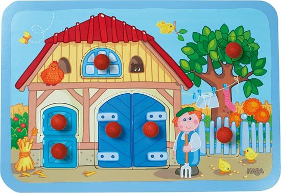 Puzzle s úchytkami Farma - HABA