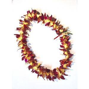 Yellow Dyed Orchid Lei  in Carlsbad Ca, Ohana Creations