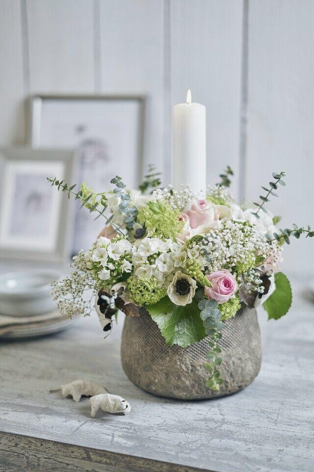 Gesteck mit Kerze Ideen  Bilder  Tischdeko  Blumen