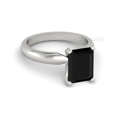 This Ring Solitaire natural black emerald diamond 14k white gold engagement ring. This ring features emerald cut black diamond with 14k white gold plain shank.