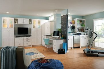 american woodmark basement  houzz the paint color is behr
