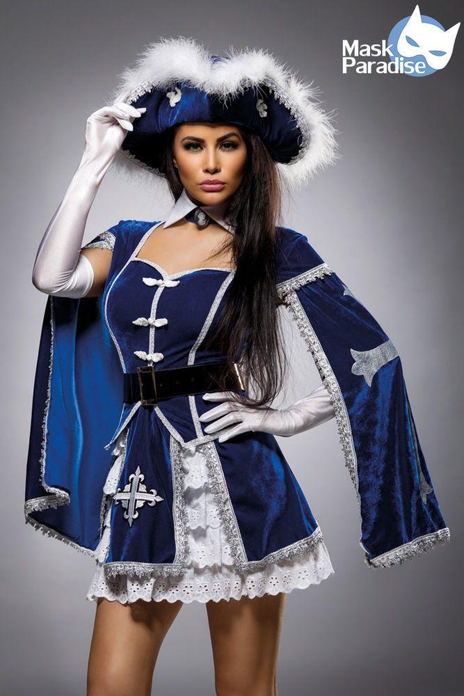 6 Tlg Lady Musketier Damen Kostüm zu Karneval Fasching Komplettkostüm