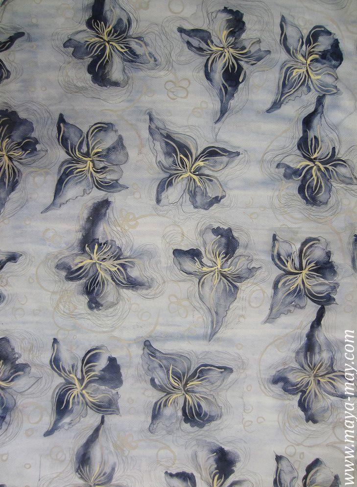 Textile print design by Angela Kurnia. Color guache. #prints #textiledesign #art #painting #designer #flower #blue #watercolor