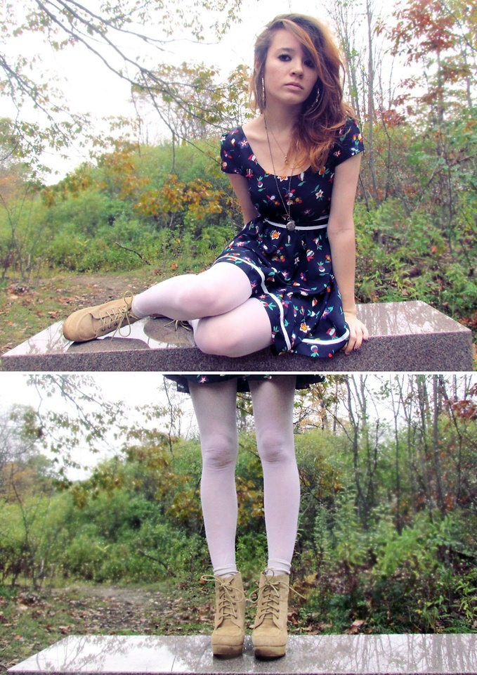 White Tights And Blue Dress With Cute Little Flowers -9958