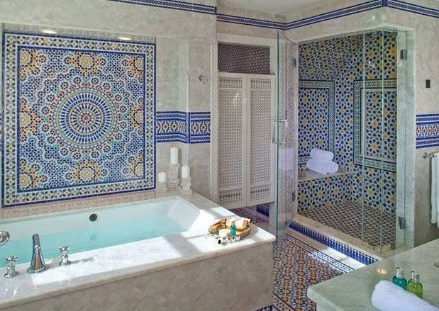 Stunning Moroccan Bathroom Moroccan Zellige Tiling And Marble Everywhere