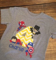 Superhero birthday shirt with Spider-Man, batman, superman, and Captain America, appliqué and embroidery   https://www.facebook.com/Dandy-Designs-908924759153810/