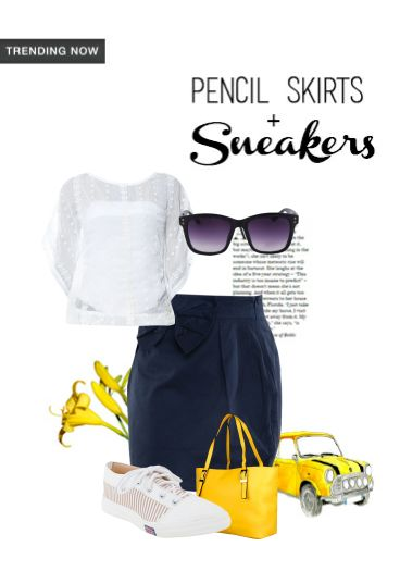 'Tricky Trend:' by me on Limeroad featuring Blue Skirts, Yellow Handbags with Solids White Tops