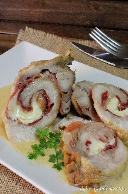 JULIA Y SUS RECETAS: Pechugas de pollo rellenas de jamón y queso