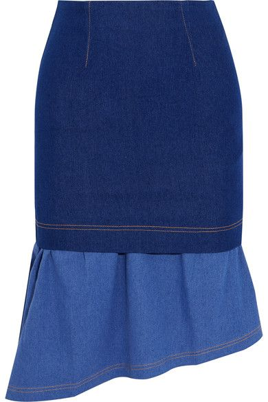 Paper London - Hamilton Asymmetric Layered Stretch-denim Skirt - Blue - UK14