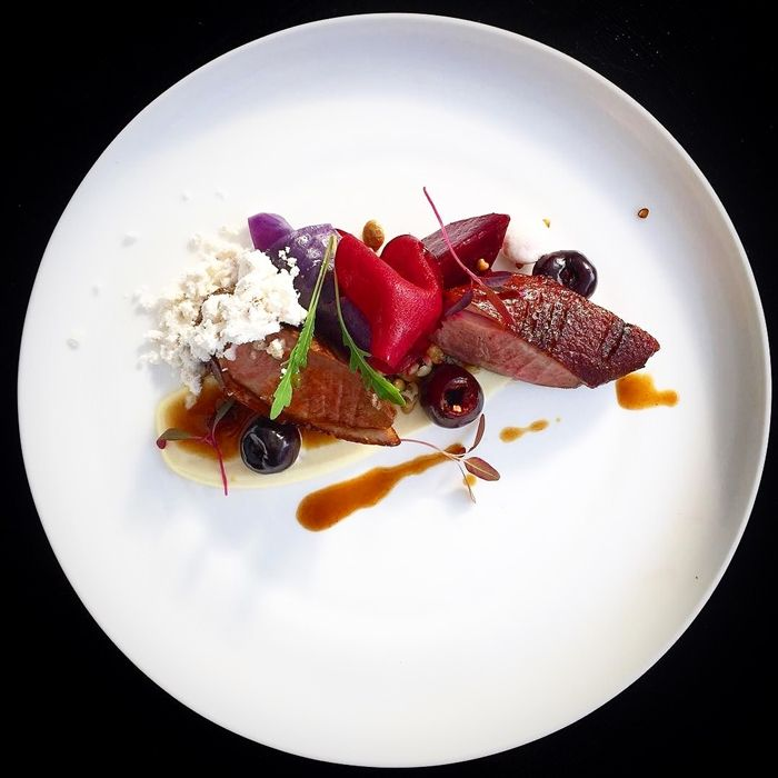 Smoked duck, roasted beetroot & pickled cherries.