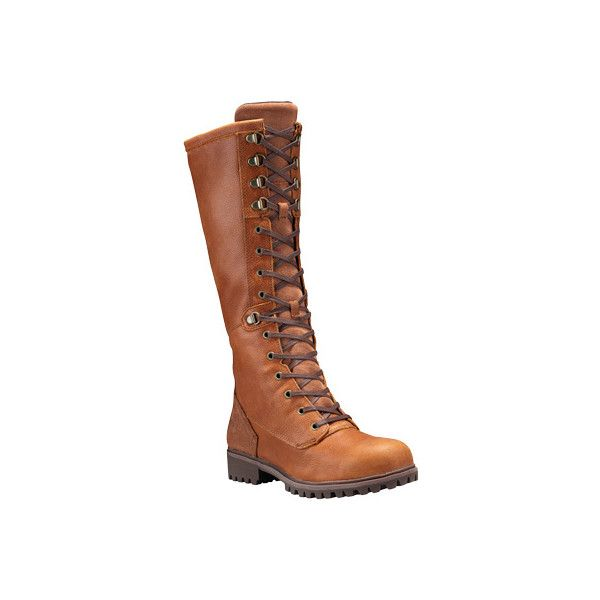 Women's Timberland Wheelwright Tall Lace Waterproof Knee High Boot... ($260) ❤ liked on Polyvore featuring shoes, boots, casual, leather boots, lace knee boots, tall hiking boots, knee-high waterproof boots, rugged boots and timberland knee high boots