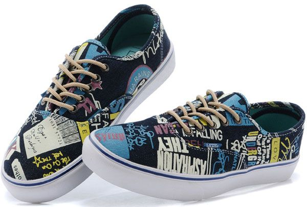 Wall Street Journal Topics Print Vans Authentic Skateboard Era Shoes Blue Yellow [D14071407] - $39.99 : Vans Shop, Vans Shop in California