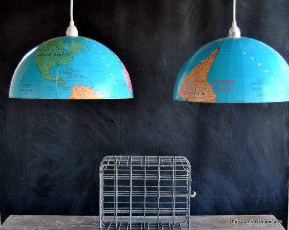 globe repurposed as twin light pendants