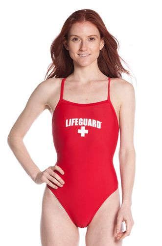 This Womens One Piece LIFEGUARD® Swimsuit is made with a Nylon and Lycra blend which is the most common material used for profeesional Lifeguard swimsuits. Thin shoulder straps go around to back to provide comfort and complete support. Front and Back fully Lined with Spandex material. Provides elasticity and comfort for a full-day wear. These are Officially Licensed Lifeguard® Swimsuits.