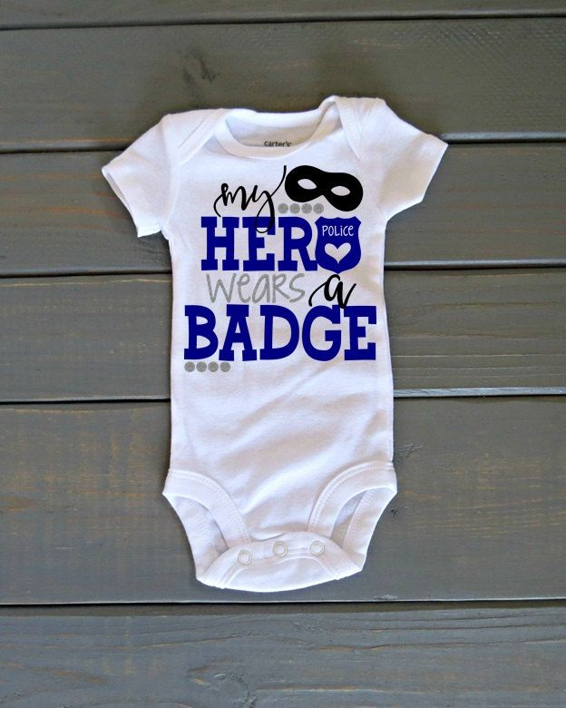 Police Daughter Shirt, My Hero Wears a Badge, Police Shirt, Baby Girl Police Top, Back the Blue