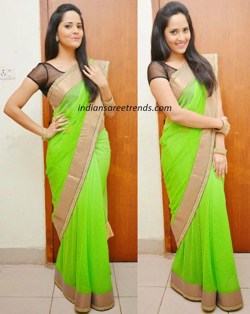 Latest Traditional and Designer Sarees: Anasuya in Neon Green saree