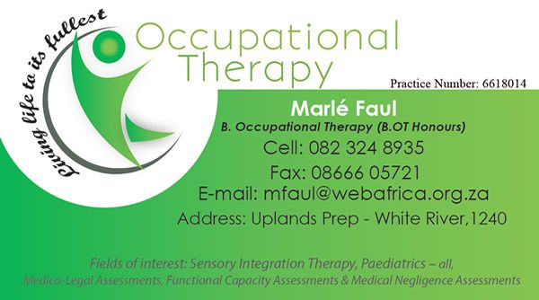 BUSINESS CARD for Marle Faul Occupational Therapist (White River) - Created by Design so Fine