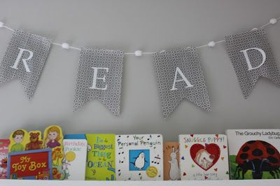 """Read"" banner over library wall - #nurserydecorLibraries Wall, Banners Style, Pinterest Families, Projects Nurseries, Img0283Jpg 16001066, Modern Nurseries, Pom Pom, Adorable Room, Twin Boys"