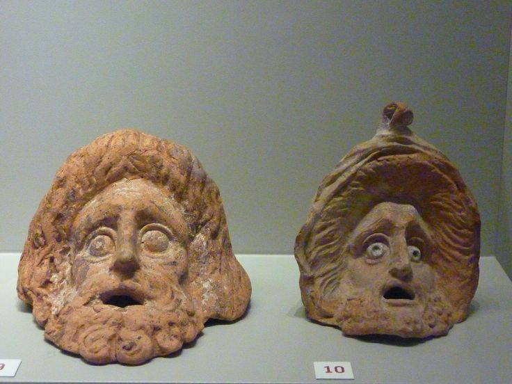 Tragic & Comic masks. Priene (Turkey), so called Room A. Clay, 3rd to 2nd cent. BC.