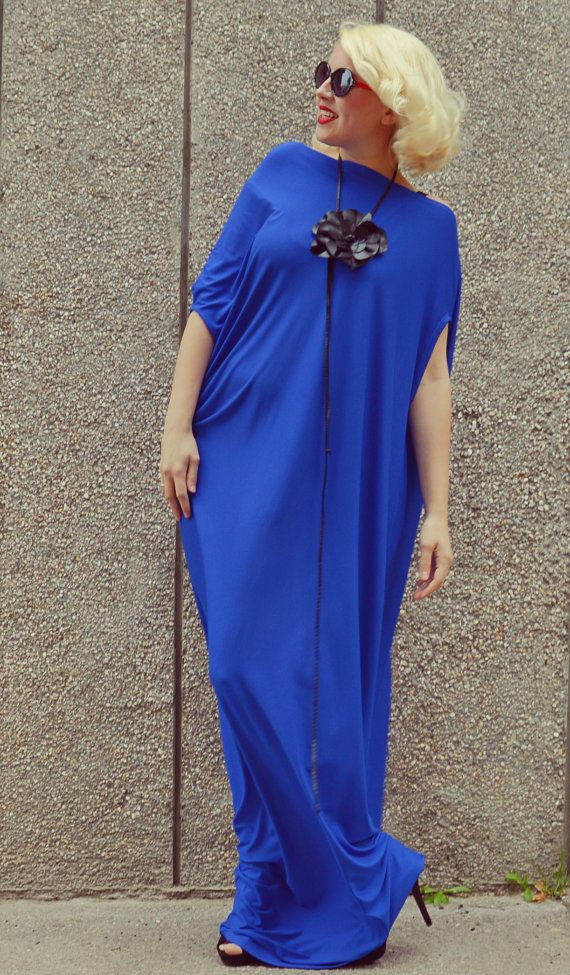 Royal Blue Maxi Dress / Plus Size Blue Kaftan / Extravagant Long Summer Dress / Blue Fabulous Long Dress TDK175 / S/S 2016