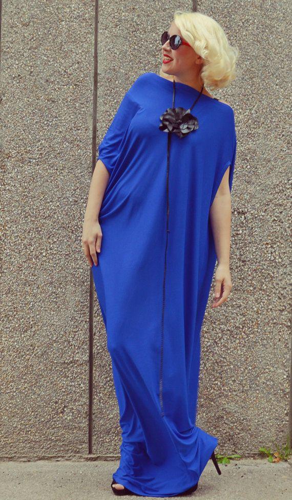 Royal Blue Maxi Dress / Plus Size Blue Kaftan / Extravagant Long Summer Dress / Blue Fabulous Long Dress TDK175 / S/S 2016
