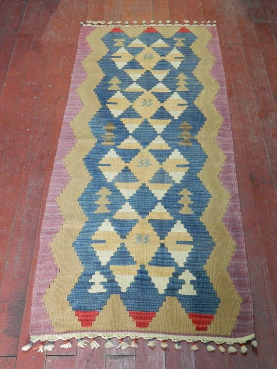 FREESHIPPINGSmall Vintage Turkish Kilim RugWoven by DearQueen