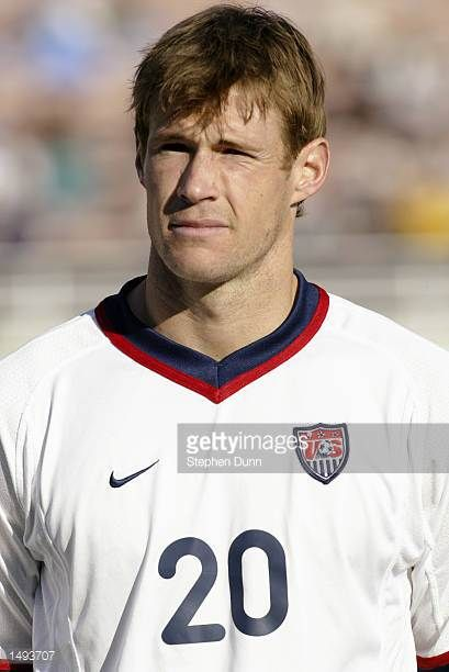 Brian McBride of the USA during introductions for their Concacaf Gold Cup first round match versus Cuba at the Rose Bowl in Pasadena California The...