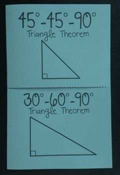 This foldable is divided into two tabs for the special right triangles: 45-45-90 and 30-60-90. Within the foldable there is a spot for the theorem as well as 4 practice problems for each type of triangle. This is a great way to introduce the skill, check for understanding, or review.