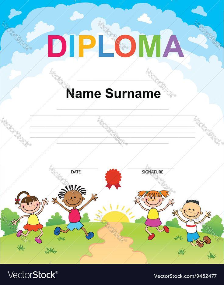 Vector image of Kids Diploma certificate background design Vector Image, includes girl, background, design, school & print. Illustrator (.ai), EPS, PDF and JPG image formats.