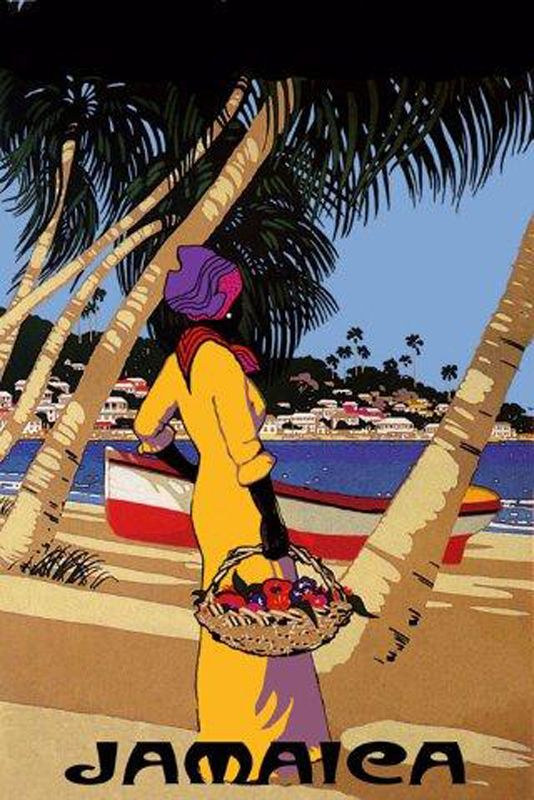 Fashion Lady Beach Boat Jamaica Travel Tourism Trip Vintage Poster Free s H | eBay