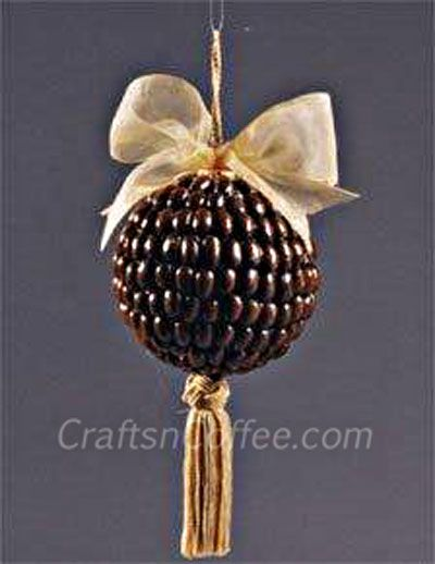 I bet this Coffee Bean Ornament smells yummy. Leave off the hanger and tassel and display year-round, too. Tutorial on CraftsnCoffee.com.