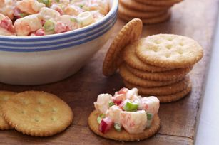 """Shrimp Salad Bites Recipe -  on crackers or as filling in slightly hollowed out 1/2"""" cucumber slices"""