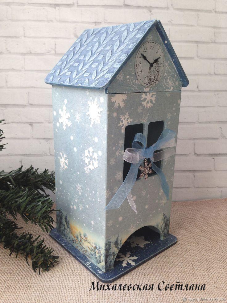 Купить чайный домик Зима. для чая хранение декупаж в интернет магазине на Ярмарке Мастеров