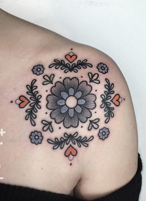 Floral old-school tattoo