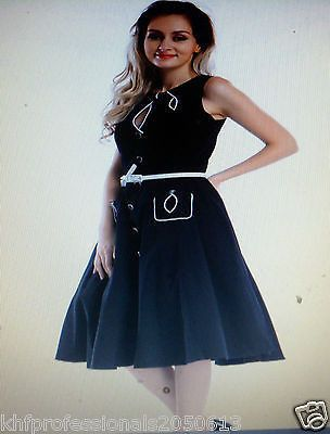 Women Party Dress Vintage Black Belt with White Tea Pinup Rockabilly Swing Cafe